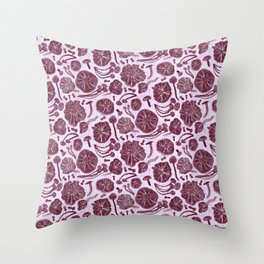 Belle Chanterelle, maroon Throw Pillow