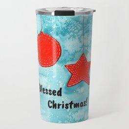 Watercolor Art   Blessed Christmas Greetings Travel Mug