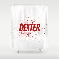 dexter Shower Curtains featuring Dexter#01 by Pedro A Ribeiro
