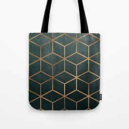 Dark Teal and Gold - Geometric Textured Gradient Cube Design Tote Bag