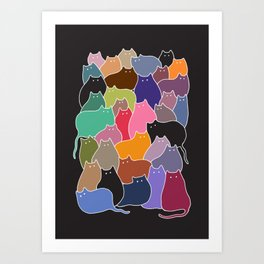 Colorful Patchwork Cats Art Print