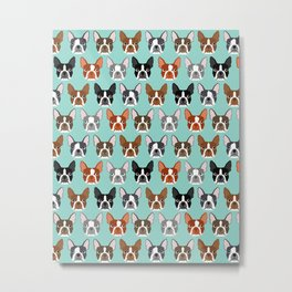 Boston Terrier heads cute pet portraits terrier owner must have gifts hipster dog breeds cute puppy Metal Print
