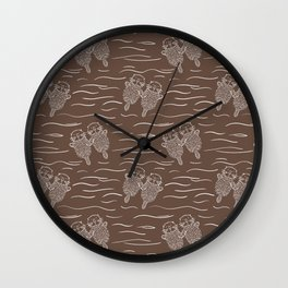 Sea Otters on Taupe Wall Clock