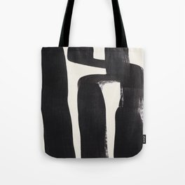Mid Century Modern Minimalist Abstract Art Brush Strokes Black & White Ink Art Ancient Stripes Tote Bag