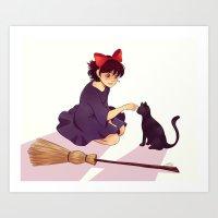 kiki Art Prints featuring Kiki by AndytheLemon