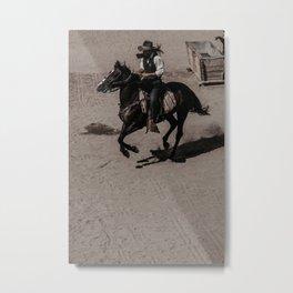 Cowboy and horse Metal Print