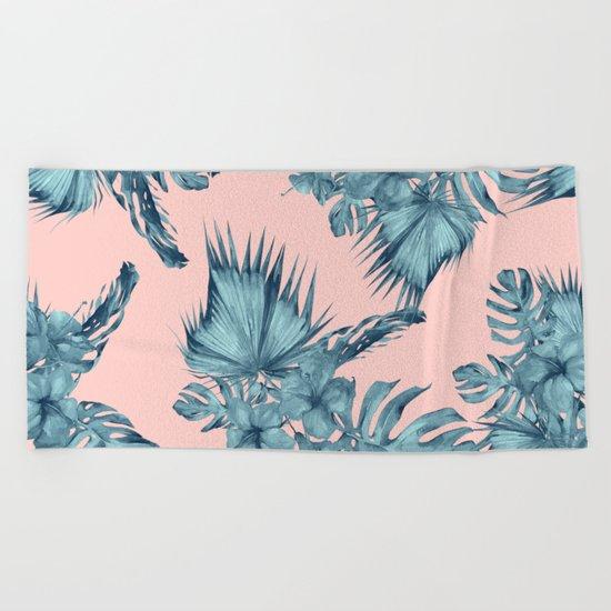 Dreaming of Hawaii Teal Blue on Millennial Pink Beach Towel