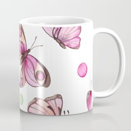 Watercolor Pink Butterflies and Colorful Dots Coffee Mug