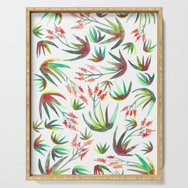 Aloe Blooms Succulents Watercolor Pattern Serving Tray