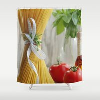 pasta Shower Curtains featuring delicious pasta by Tanja Riedel