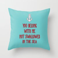 coldplay Throw Pillows featuring You Belong With Me by larlener