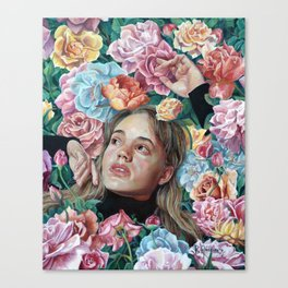 Florimania, portrait of young girl woman in flowers, colorful rainbow, bright, romantic Canvas Print