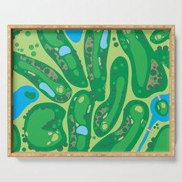 golf course par golf course green Serving Tray