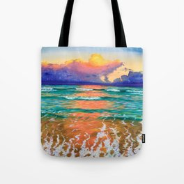 Sunset on the ocean Tote Bag