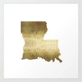 louisiana gold foil state map Art Print
