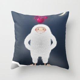 Yeti in love Throw Pillow