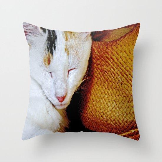 The Cowboy's Cat Throw Pillow