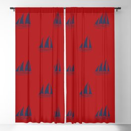 Navy blue Sailboat Pattern on red background Blackout Curtain