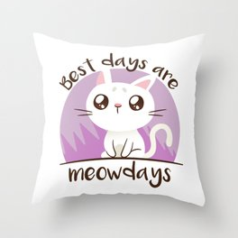 Purple Cat - Best Days Are Meowdays Throw Pillow