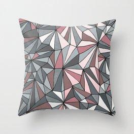 Urban Geometric Pattern on Concrete - Dark grey and pink Throw Pillow
