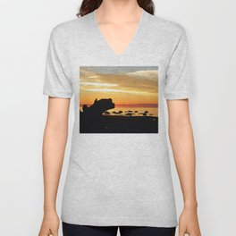 Silhouettes by the Sea at Sunset Unisex V-Neck