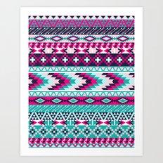 Navy Turquoise Pink Tribal Art Print