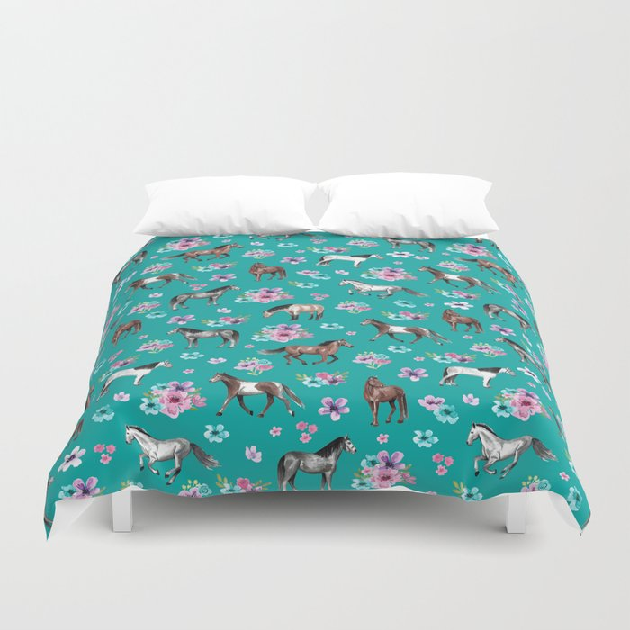 Horse Pattern, Floral Print, Turquoise, Little Girls Room, Horses Bettbezug