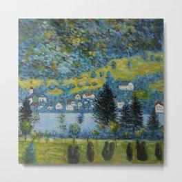 Variegated Blue Alpine Village 'Little Venice' on Lake Attersee in Austrian Alps by Gustav Klimt Metal Print