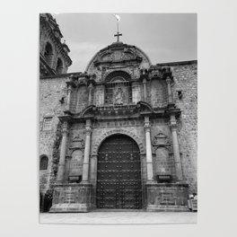 Cusco Basilica - Black & White Poster