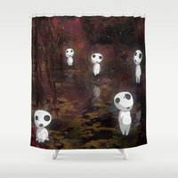 princess mononoke Shower Curtains featuring Princess Mononoke - The Kodama by pkarnold + The Cult Print Shop