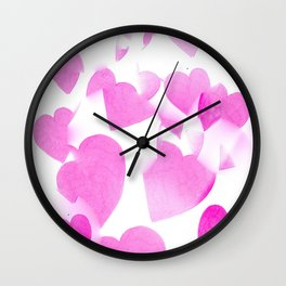 Blended Pink Hearts Wall Clock