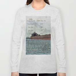 Mesabi Miner freighter and Stats Long Sleeve T-shirt
