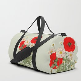A country garden flower bouquet -poppies and daisies Duffle Bag