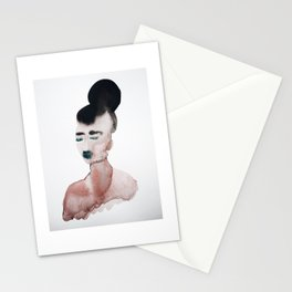 Green lips and bun Stationery Cards