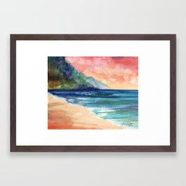 Ke'e Beach Framed Art Print