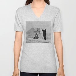 Black and White Photo of Louis Armstrong at the Egyptian Sphinx Unisex V-Neck