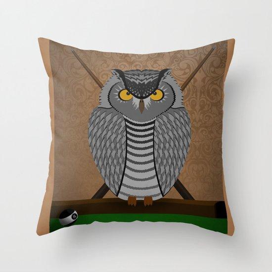 owl playing billiards Throw Pillow