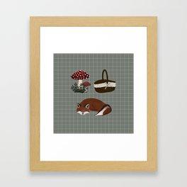 A walk in the Forest - Art print, pique nique, cute fox  Framed Art Print