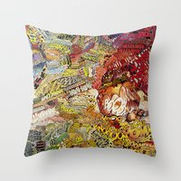 superheros Throw Pillows featuring BoooM by MelissaMoffatCollage