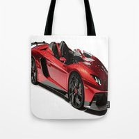 lamborghini Tote Bags featuring Lamborghini Veneno by rosita