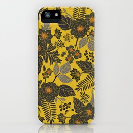 Mustard Yellow, Blue-Gray & Red Floral/Botanical Pattern iPhone Case