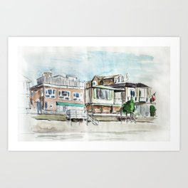 Houses on a channel Art Print