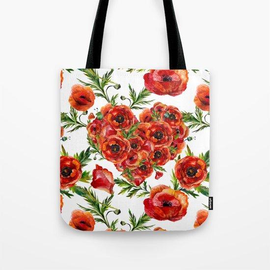 Poppy Heart pattern Tote Bag