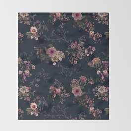 Japanese Boho Floral Throw Blanket