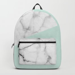 Real White marble Half pastel Mint Green Backpack
