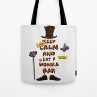 willy wonka Tote Bags featuring Wonka Bar by le.duc