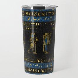 Golden Egyptian Gods and hieroglyphics on leather Travel Mug