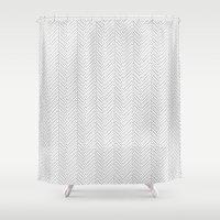 herringbone Shower Curtains featuring Herringbone DIY by Project M