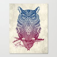 butterfly Canvas Prints featuring Evening Warrior Owl by Rachel Caldwell