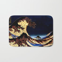 The GREAT Wave Midnight Blue Brown Bath Mat
